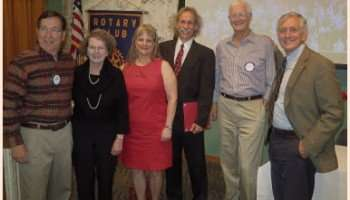 Pearl Rotary President Dave Haack (left) and Portland Mayor Charlie Hales (right) joined the club's community service awardees: Jan Valentine, Gabrielle Starr and Curtis Holloway, and Al Solheim